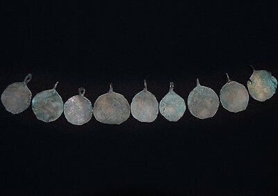 Group of 9 Ancient Viking bronze Necklace Amulets, c 950-1000 AD. Partly Cleaned
