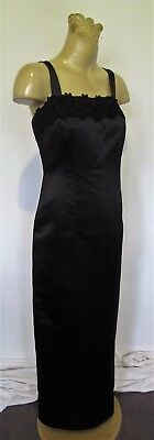 Black Satin DRESS Lace trim Strap Wiggle Maxi Evening Vintage Sz 12 Sexy Formal