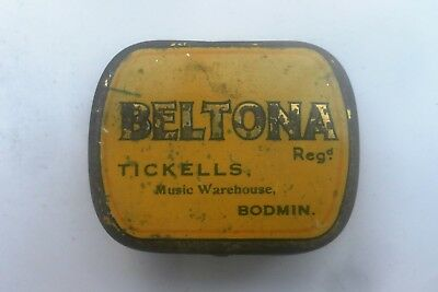 Antique Vintage Original Beltona Gramophone Tin & Needles Tickells Store Bodmin