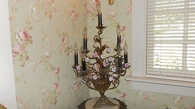 Antique Large France French Bronze 7 Light Candelabra Lamp Porcelain Roses
