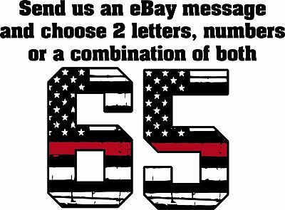 Firefighter Helmet Letters - Red line USA Style 65 or 2 Letters/Numbers U Choose