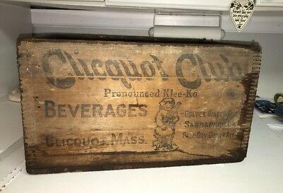 Vintage Wood Wooden Advertising Box Clicquot Club Beverages Ginger Ale Eskamo