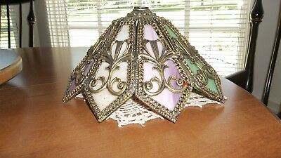 Antique Brass Fancy Scroll Heavy Real Stain Glass Lamp Shade Pink Cranberry Mint