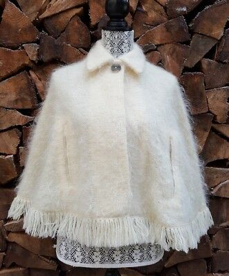 Vintage Scottish Andrew Stewart Woven Mohair Wool Cape Cream Poncho Fringe