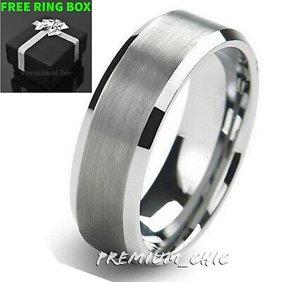 Silver Classic Tungsten Carbide Wedding Band Men's Ring Bridal Jewelry Brushed