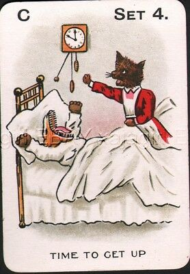Cat Nurse Wakes Dog! Antique Victorian Swap Playing Card