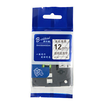 Black on Clear Compatible for Brother P-Touch 12mm Laminated Tze131 Label Tape