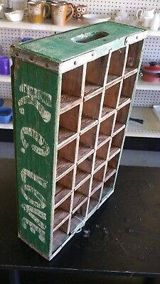 Vintage Wooden Green K.C. Love Soda Pop Bottle Crate Carrier Tool 24 Slot Box