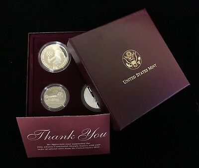 1996 US Olympic Games Proof Gold and Silver 4 Coin Set w/ Box COA - Flag  Bearer