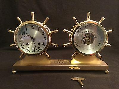 Vintage Brass Chelsea Ship's Bell Clock And Barometer On Brass Stand Engraved