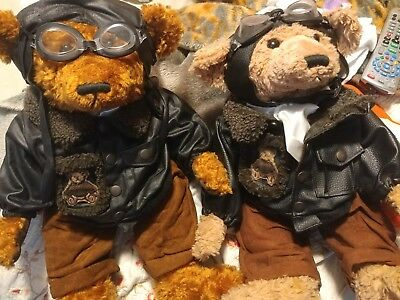 Fine Toy bomber motorcycle bears collectables have leather jackets and goggles