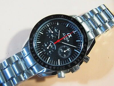 Alpha Hand Winding Chronograph Matte Black Dial Stainless Steel Moon Watch