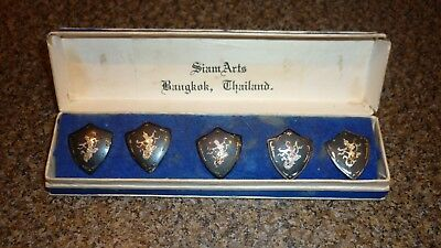 Five Antique Siam Sterling Silver Thai Goddess Shield Shaped Nielo Buttons & Box