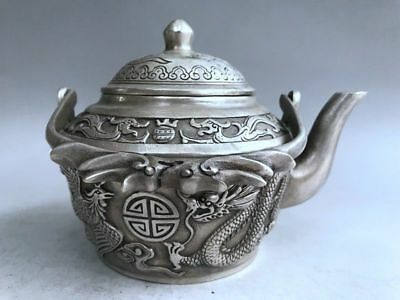 Ancient Chinese pure copper teapot carved dragon's pattern qianlong
