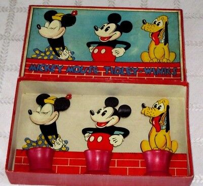 1930's-MICKEY MOUSE-MINNIE MOUSE & PLUTO-GAME-TIDLEYWINKS-W BOX CHAD VALLEY-TOY