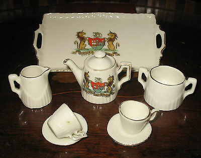 Antique : A Crested  (partially) China miniature Childs 9 piece Teaset - Bristol