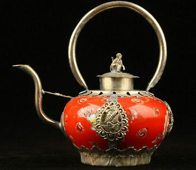Decoration Handmade Old decorated porcelain Tibet Silver Monkey Teapot