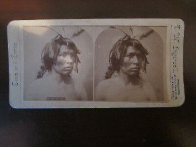 ANTIQUE ORIGINAL Native American INDIAN SITTING BULL  STEREOVIEW INGERSOLL PHOTO