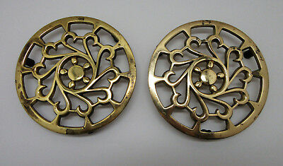 """Lot of 2 Vintage Heavy Round Solid Brass 6¼"""" Matching Trivet Footed India"""