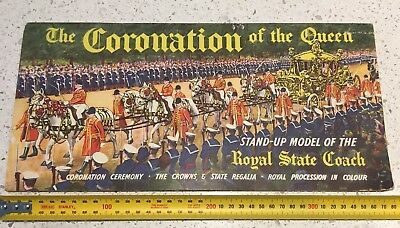 Vintage Stand-up Model of the Royal Coach Coronation of Queen Elizabeth II 1953