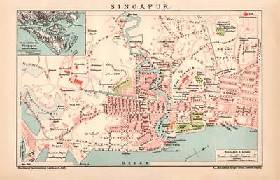SINGAPORE Lithograph dated 1900 old historical map antique german print