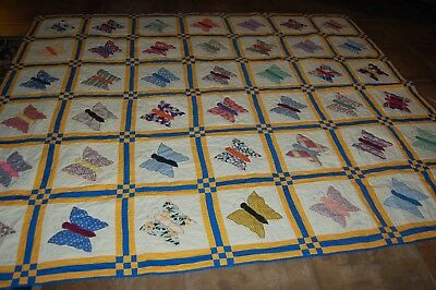 Vintage  Butterfly Applique Antique Quilt ~ESTATE FRESH-NEVER WASHED OR USED-NR