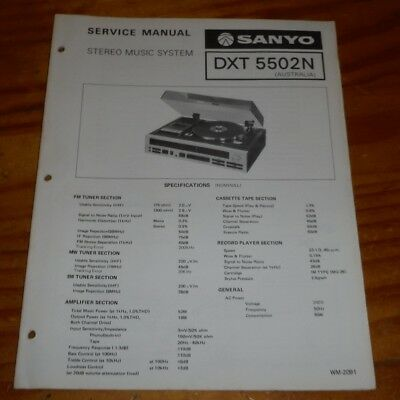 Sanyo Service Manual Stereo Record Player Cassette player model DXT 5502N 1977