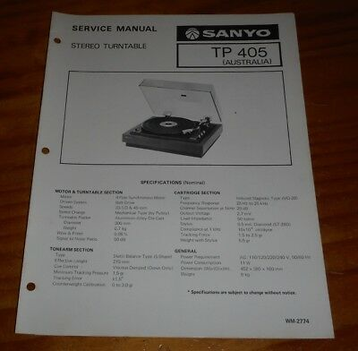 Sanyo Service Manual Stereo Turntable TP 405 1977 ( record Player )