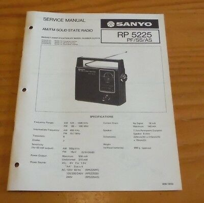 Sanyo Service Manual Portable AM/FM Radio (solid state) model RP5225 PF/SS/AS