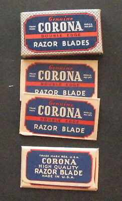 Vintage Made in USA Razor Blade CORONA Full Pack of 3 - Seldom Seen