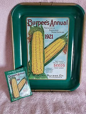 Burpee's Annual 1921 Seed Catalog Advertising Metal Tray;& Matching Seed Pack
