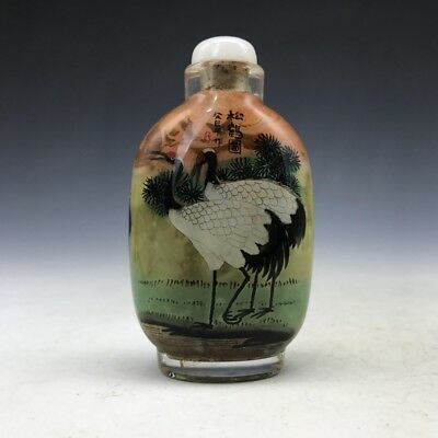 The ancient Chinese glass snuff bottle pure manual painting swan image