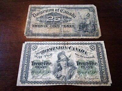 1870 1900 Dominion of Canada 25 Cents Fractional Bank Currency Notes SHINPLASTER