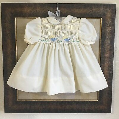 Vintage Polly Flinders Smocked Dress 6-9 Months Yellow Baby Carriage Flowers