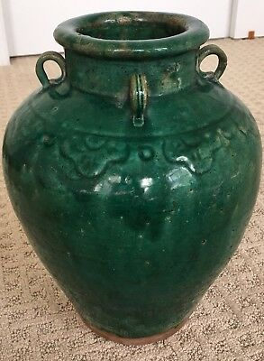 Martaban Handled Jar Ceramic Green Antique Old!
