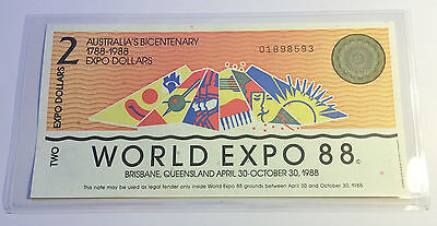 (Ch Unc) 1988 $2.00 Brisbane World Expo Note In Sleeve, Currency, Money