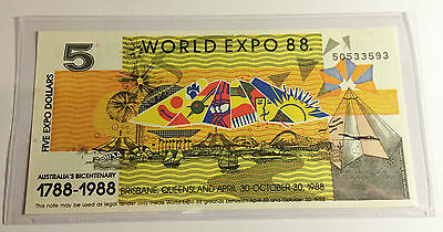 (Ch Unc) 1988 $5.00 Brisbane World Expo Note In Sleeve, Currency, Money