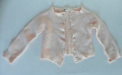 Vintage Antique Baby Sweater Wool Newport New York MOP Buttons Pink So Soft
