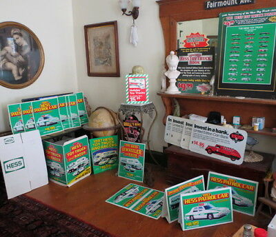 24 original Hess Oil TOY TRUCK store signs estate find gas station owner 1990's