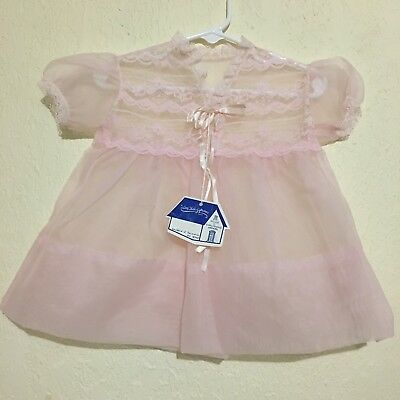 "Vintage Sheer Nylon Pink Dress 12 Months 15"" Long 1950s Deadstock Nwt"