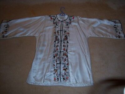 Vtg Hand Embroidered Chinese Silk Tunic with Children Playing, Dragons,and Lions