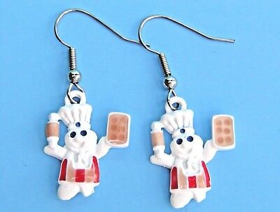 NEW 1996 Pillsbury Doughboy Baker with Rolling Pin Pierced Earrings Poppin Fresh