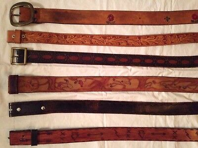 Vtg Upcycle Lot Tooled  Leather Floral Hippie Western Cowboy BELTS
