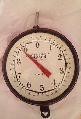 VINTAGE Hanging Chatillon Dial Scale 20 lb Glass Front Metal