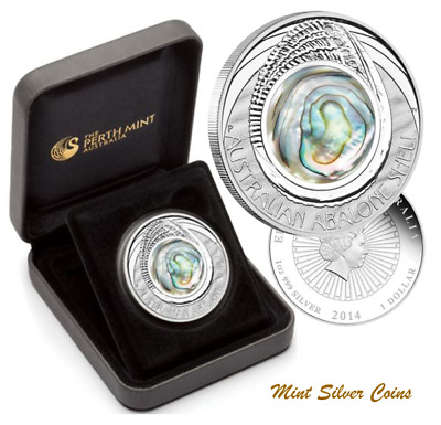 RARE: 1 oz. 999 SILVER - ABALONE SHELL COIN (COMPLETE WITH C.O.A. + CASE + BOX)