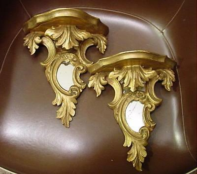 Pair Of Antique Florentine Gilded Carved Wood Mirrored Wall Shelves Italy Rococo