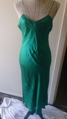 Vintage 1980's Silk Slip/ slip Dress, night gown, Teal, size M