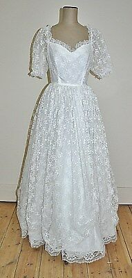Vintage 80's HENRI JOSEF Lace Wedding Dress