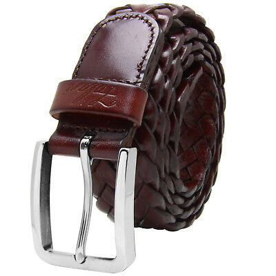 Falari® Men Braided Belt Stainless Steel Buckle Genuine Leather 35mm 9005