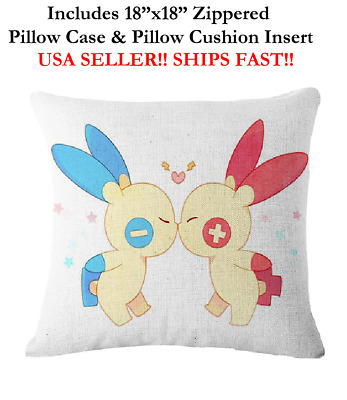 "18x18 18"" 18in POKEMON PLUSLE & MINUN KIDS LOVER Zippered Throw Pillow Cushion"